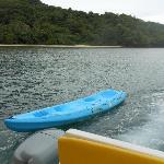 the kayak behind our boat
