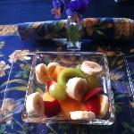 Breakfast - fruit salad and pancakes to come!
