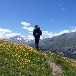 Hiking along the mountain