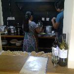 Cafe Swotha staff making momos