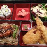 Lunch special bento box with Salmon Terriyaki and Tempura