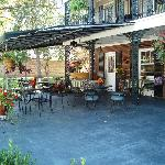 The courtyard- the front of the inn and the patio seating of the lovely dining location Courtyar