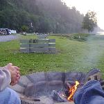 At a firepit, looking West (river on right side of photo)