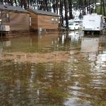 Flooded camp ground due to drain not cleaned