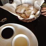 beignets with dipping sauces