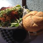 Cow classic burger with green salad