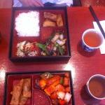 black bean and sweet and sour bento boxes. With jasmine tea.
