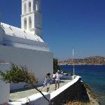 The beautiful church in Yalos port were the ferries com in
