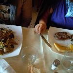 cena: tagliatelle capriolo e porcini, polenta salsiccia e funghi