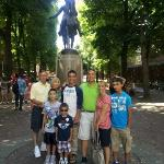 The Liguori family in Paul Revere Square. Ben Edwards' tour was perfect for this family.