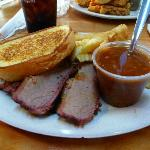 Beef brisket, pulled pork, grlic toast, bar-b-q beans and fries