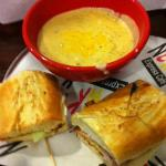 The Club toasted specialty sandwich with Broccoli Cheddar soup