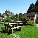 Plenty of tables in the well kept gardens