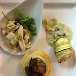 Cono di scorfano con vellutata di ostriche e cuore di crostaceo; Girella di spatola, melanzane s