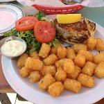 crab cake sandwich with tater tots