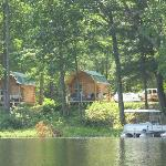 View of the cabins from the lake