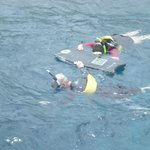 Our friends, Michael and Gigi, snorkeling in Molokini Crater