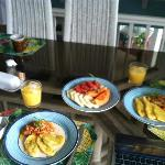 saltfish, fried plantains and fresh fruit as requested