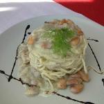 spaghetti with sardinas, almonds and fennel cream