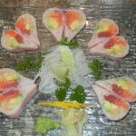 Salmon,tuna,mango,avocado,labster salad wrapped w.soybean paper.