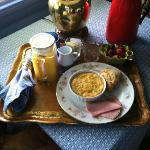 Yummy breakfast delivered to the room, by request (egg souffle, ham, and candied ginger scone)!