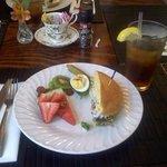Chicken Salad Sandwich & Fresh Fruit (half portion shown)
