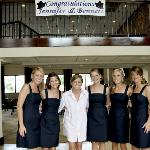 Bride and Bridesmaids with Banner