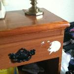 paint covered nightstand