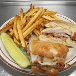Cuban Sandwich- spicy pork loin with Swiss, dill pickles,and chipotle may