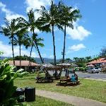 The view from the outdoor bench seating area toward Hanalei town