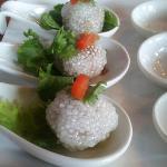 Saaku Sai Moo served on six chinese spoons