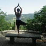 Doing yoga in Radda in Chianti
