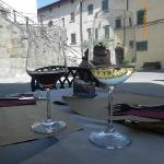 Enjoying wine at the hotel's outside resturant/bar (Cafe San Niccolo)
