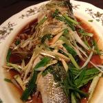steamed seabass with spring onion and ginger
