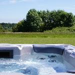 Hot tub offering beautiful views over the valley & beyond
