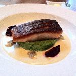 salmon on mashed green peas
