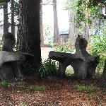 Sculptures in the Mendocino Arts Center garden in July 2012.