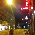 night time view of front of Savoy Hotel