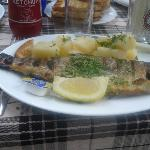 Fresh trout served at Psilo Dendro in July 2012