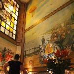 dining room with murals depicting the early days of driving