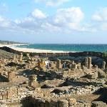 View of the Garum Works at Roman Ruins in Bolonia Beach