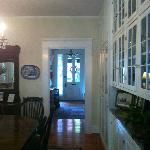 Find the dining table, tea & coffee, and Marshal Slocum Guest House souvenirs