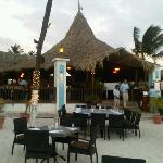 The outdoor seating area, moments before sunset
