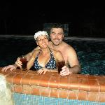me and tina having a late night swim with our rum and cokes