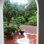 Enjoying Monsoon showers from Mitali's veranda