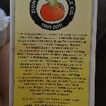 Front of menu (July 2012)