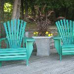 Muskoka chairs on the dock