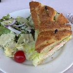 Turkey and Avocado Sandwich with Green Salad