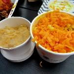 Sides: mashed yam, mac and cheese