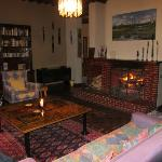 Dea's living room with open fire